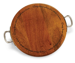 Round Wood Cutting Board with Pewter Finish Handles