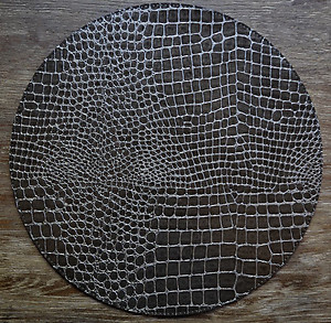 Dark Charcoal Grey Round Alligator Pattern Wipeable Placemats