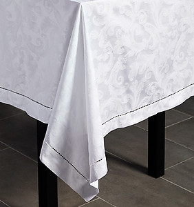 Sferra Cotton Tablecloth, Napkins, Placemats - Acanthus, 7 Colors