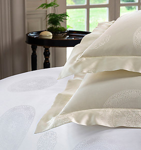 SFERRA Giza 45 Medallion  Sheets & Bedding, White or Ivory