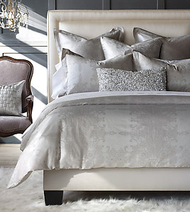 Silver Lace Pattern Duvet Covers & Shams - De Medici Incanto