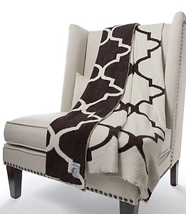 Soft Moroccan Pattern Throw Blanket in Chocolate & Cream. Little Giraffe Dolce
