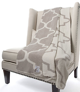 Soft Moroccan Style Throw Blanket in Grey & Cream. Little Giraffe Dolce