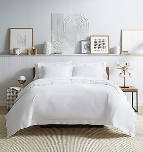 White Cotton Percale Sheets & Bedding - Sferra Analisa