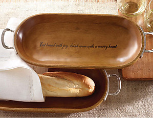 Wooden Bread Bowl with Pewter Silver Metal Handles