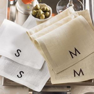 SFERRA Modern Monogram Cocktail Napkins
