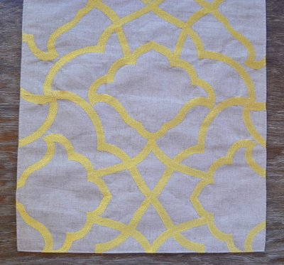 Embroidered Golden Yellow & Linen Table Runner
