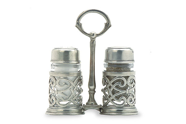 Cutwork Salt & Pepper Caddy by Match Pewter