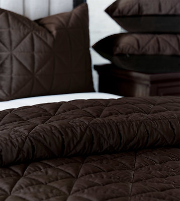 Cocoa Brown Quilted Velvet Coverlets & Shams De Medici Nova