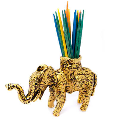 Elephant Pewter Toothpick Holder by Silvie Goldmark, Gold or Silver