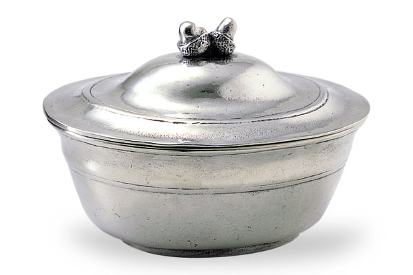 Acorn Lidded Italian Pewter Bowl by Match Pewter