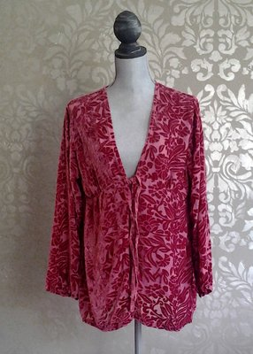 Bella Notte New Primrose Ruby Red Floral Velvet Jacket