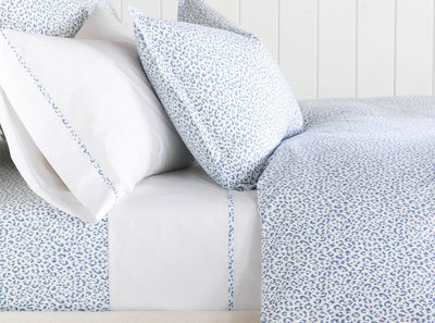 Blue & White Leopard Duvet Cover & Sheets - Barclay Butera Tanner Indigo