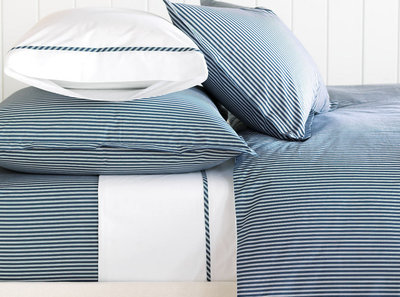 Blue & White Striped Duvet Cover & Sheets - Barclay Butera Newman Ink
