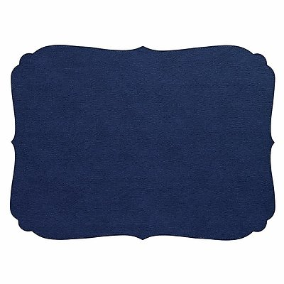 Bodrum Curly Navy Blue Oblong Easy Care Placemats - Set of 4
