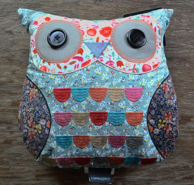 Cynthia Rowley Embroidered Patchwork Owl Pillow