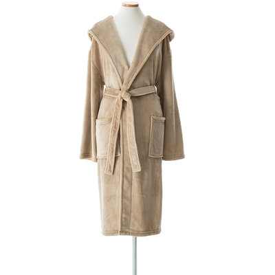 Golden Tan Hooded Bath Robe. Selke Fleece Linen Color Robe