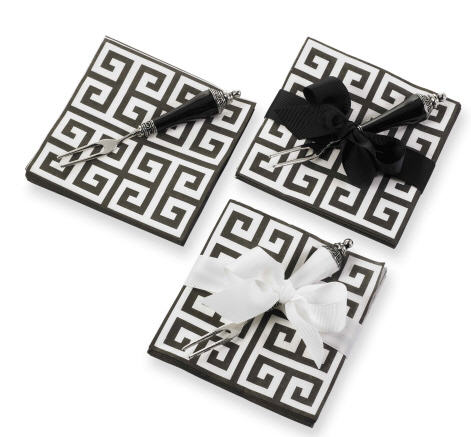 Black and White Greek Key Cocktail Napkin Set