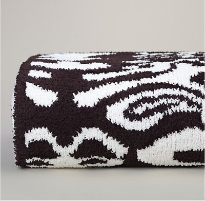 Kashwere Damask Chocolate Brown and Cream Throw Blanket