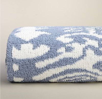 Kashwere Damask Silver Blue and Cream Throw Blanket