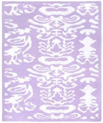 Kashwere Half Throw Blanket Damask Lavender Purple and White