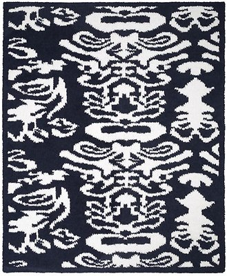 Kashwere Half Throw Blanket Damask Navy Blue and White