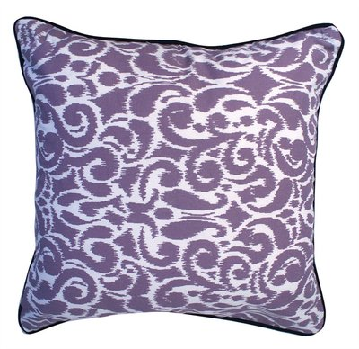 Lavender Purple & Creamy White Medallion Damask Reversible Throw Pillow