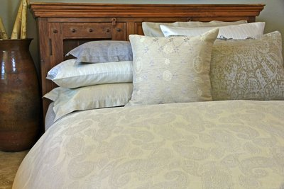 Leitner Sahrah Paisley Pattern Linen Bedding & Table Linens - 13 Colors
