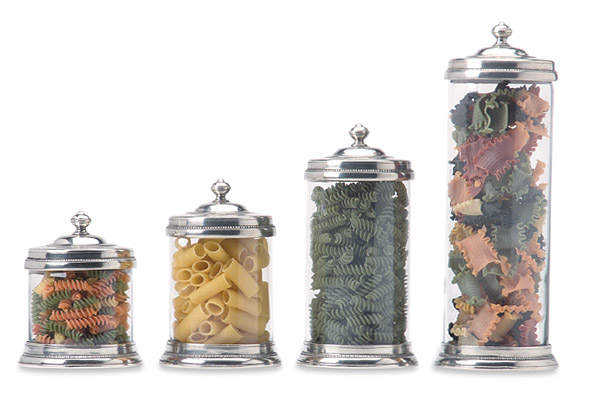 Glass Cannisters by Match Pewter