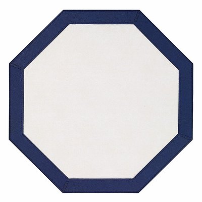 Bodrum Bordino Navy Blue White Octagon Easy Care Place Mats - Set of 6