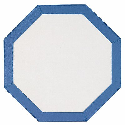 Bodrum Bordino Periwinkle Blue White Octagon Easy Care Place Mats - Set of 4