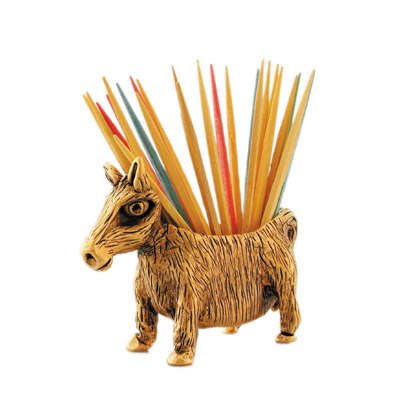 Donkey Pewter Toothpick Holder by Silvie Goldmark, Gold or Silver