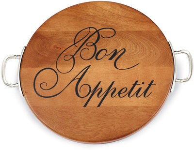 Bon Appetit Round Wood Cutting Board with Pewter Finish Handles